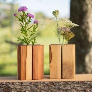 Holzvase aus Birnenholz geölt im 2er Set