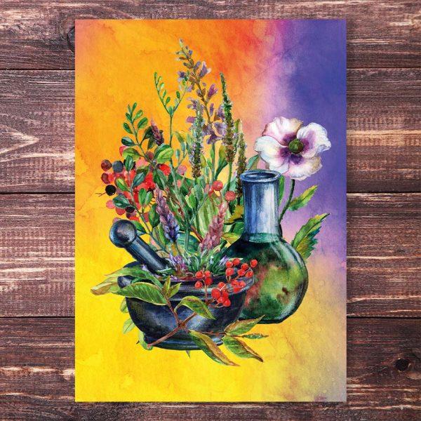 Postkarte Kräuterhexe Blumen