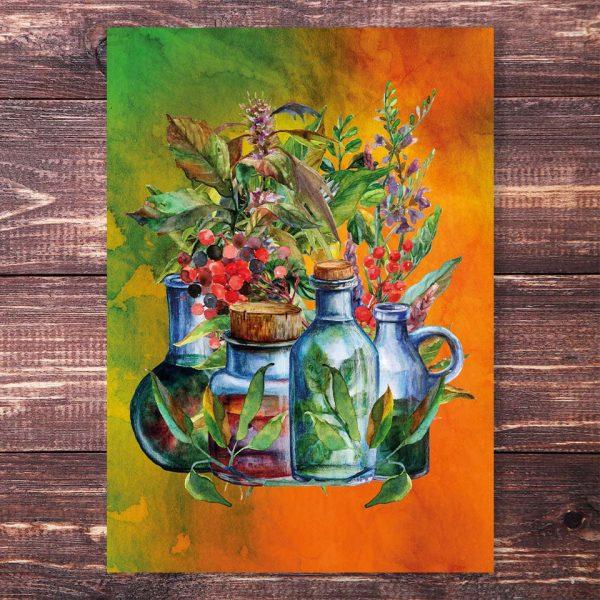 Postkarte Kräuterhexe Tinktur