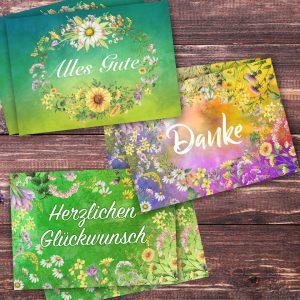 Postkartenset mit dem Thema Glückwünsche