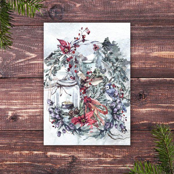 Weihnachtskarte Lesestunde