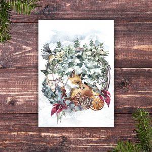 Weihnachtskarte mit jungem Fuchs