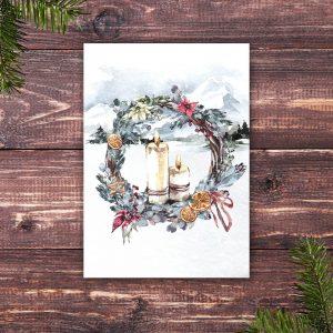 Weihnachtskarte mit Kerzen